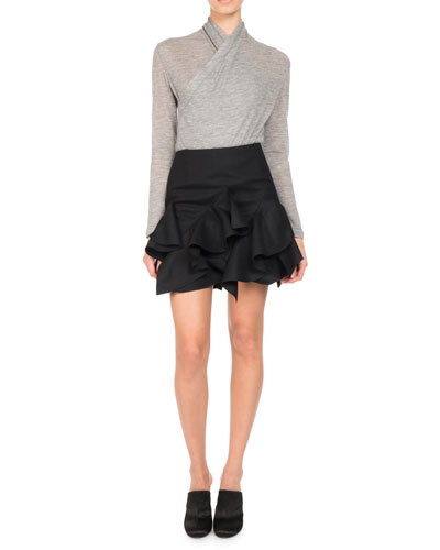 Ruffle-Trim A-Line Miniskirt, Black and Matching Items