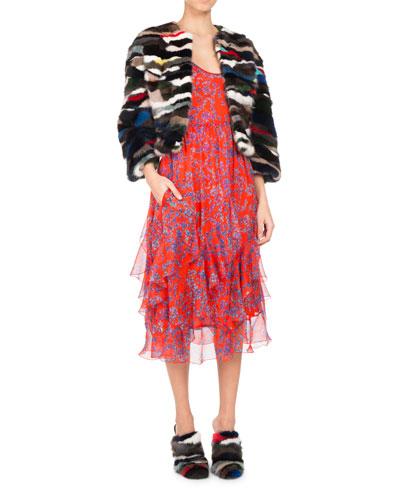 Floral-Print Chiffon Ruffle-Hem Midi Dress, Orange and Matching Items