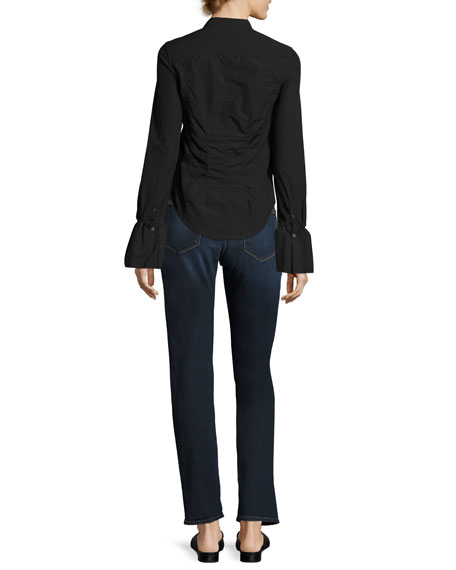 Fitted Long-Sleeve Poplin Shirt Top, Black