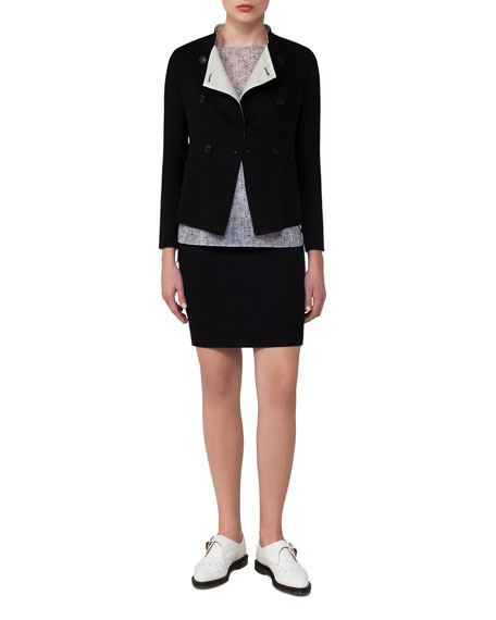 Reversible Wool Double-Breasted Jacket, Black