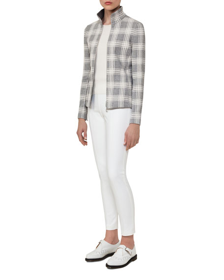 Check Jacquard Zip-Front Jacket, Off White