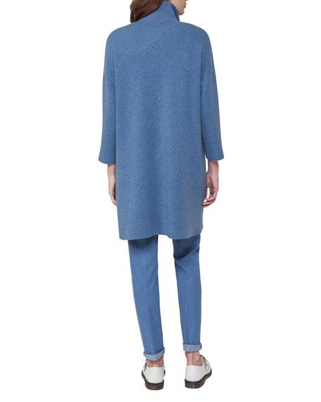 Reversible Cashmere Front-Zip Swing Cardigan, Light Blue
