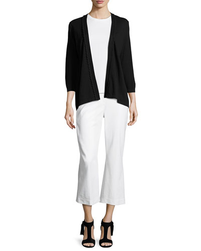 3/4-sleeve scalloped open-front cardigan, black and Matching Items