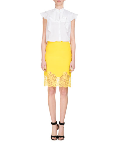 Sleeveless Poplin Ruffle Blouse, White and Matching Items