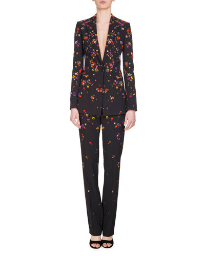 Pansy-Print Cady Straight-Leg Pants, Black and Matching Items