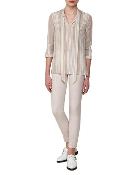 Striped Stretch Silk Tie-Neck Blouse, Gray