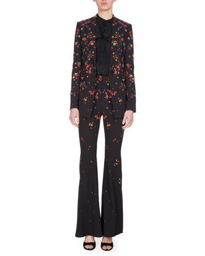 Pansy-Print Cady One-Button Blazer, Black and Matching Items