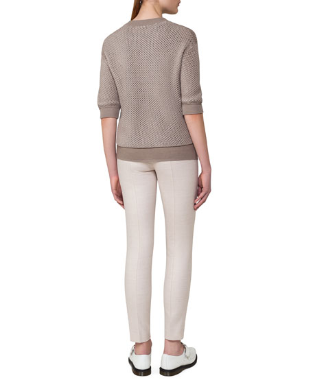 Reversible Netted Cashmere-Cotton 1/2-Sleeve Cardigan, Taupe