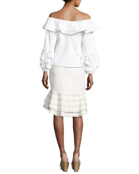 Regine Off-the-Shoulder Ruffled Top, White