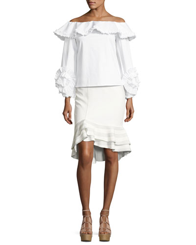 Regine Off-the-Shoulder Ruffled Top, White and Matching Items