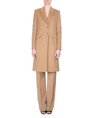 Wool Track-Stripe Straight-Leg Trousers and Matching Items