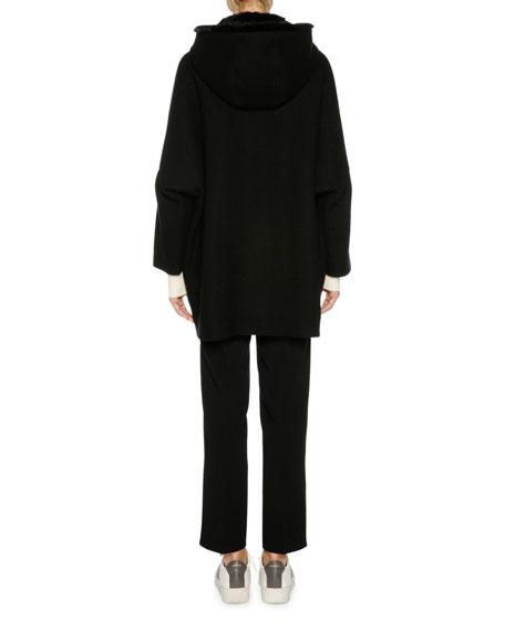 Cashmere Zip-Front Parka with Mink Fur Hood, Black