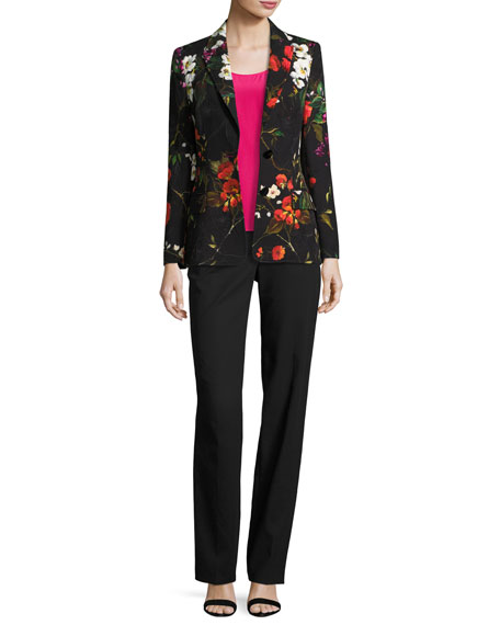 Floral Matelasse Jacket, Black/Multicolor