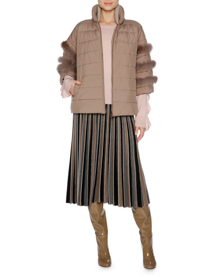 Short Puffer Jacket with Fox Fur Trim