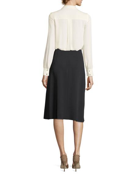 Ruffled Lace-Bib Silk Shirt
