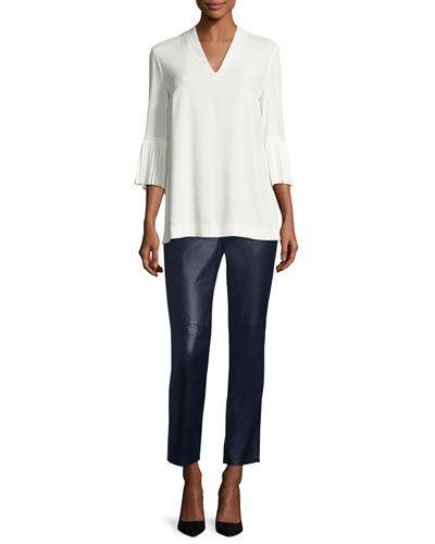 Pleated-Sleeve Crepe V-Neck Blouse and Matching Items