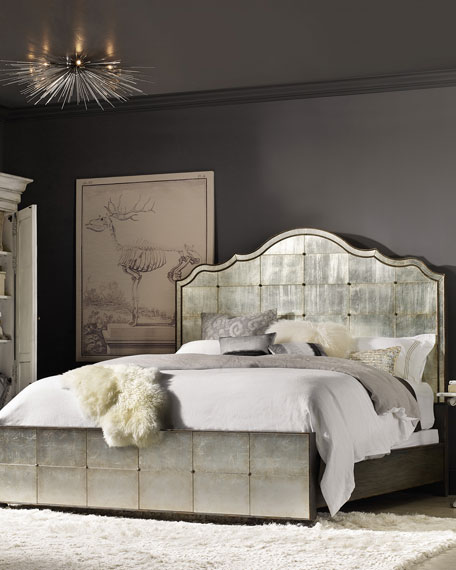 Visage Eglomise Mirrored Panel Bed, Queen