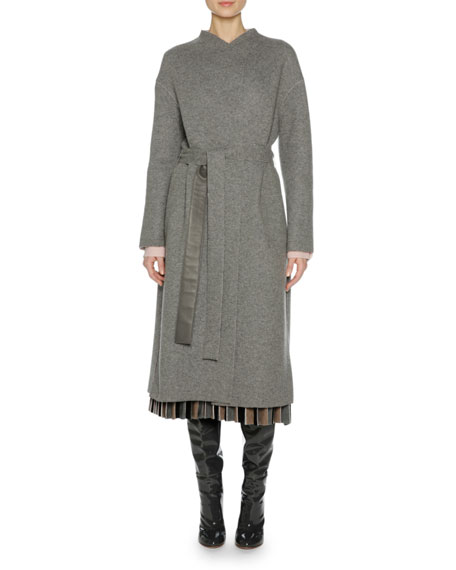 Cashmere Belted Wrap Coat, Gray/Pink