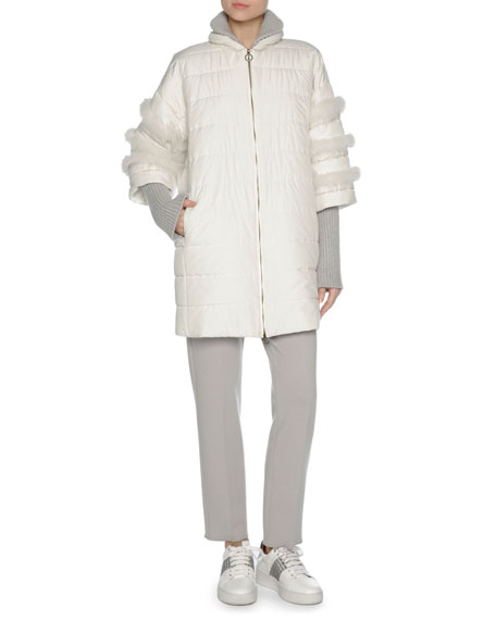 Puffer Jacket with Fox Fur Trim