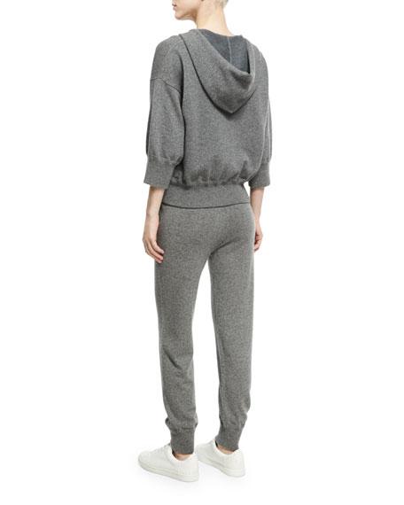 Cashmere High-Waist Jogger Pants, Charcoal