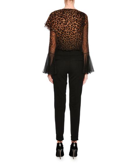 Slim-Fit Gabardine Cuffed Pants, Black