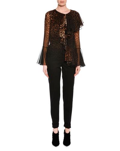 Slim-Fit Gabardine Cuffed Pants, Black and Matching Items