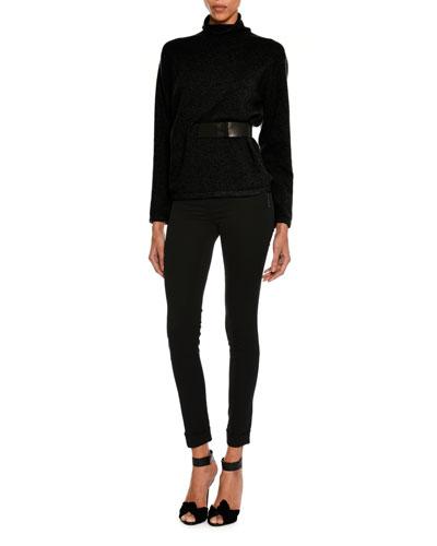 Velvet Zip-Cuff Leggings, Black and Matching Items