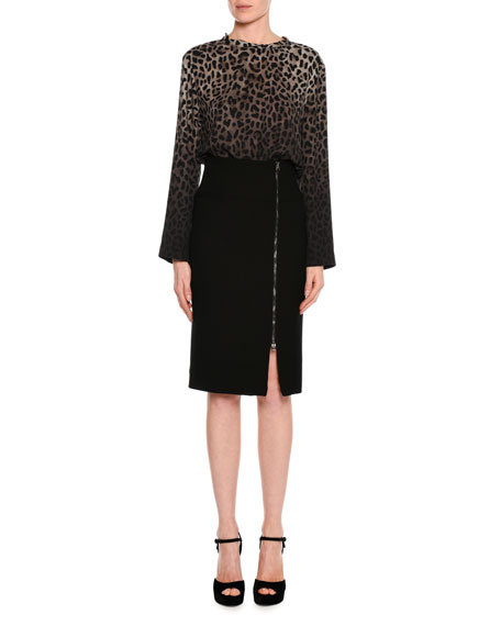Side-Zip Fitted Pencil Skirt, Black