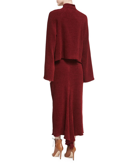 Chenille Cropped Jacket, Dark Red