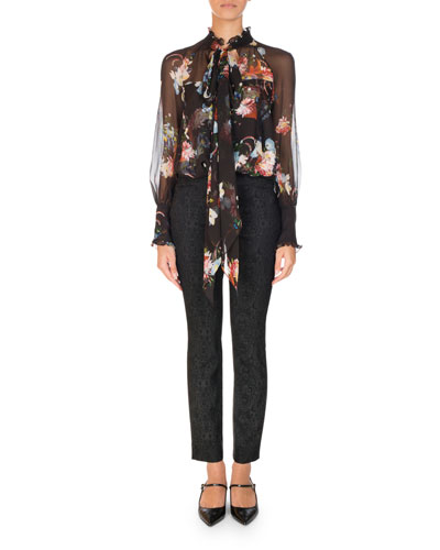 Isabelle Floral-Print Chiffon Blouse, Black Pattern and Matching Items