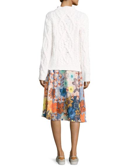 Sabina Floral Satin A-Line Midi Skirt, Pink Pattern