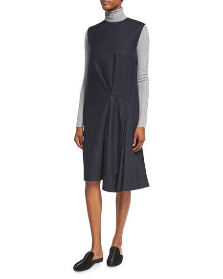 Danya Pinstripe Wool Midi Dress, Blue