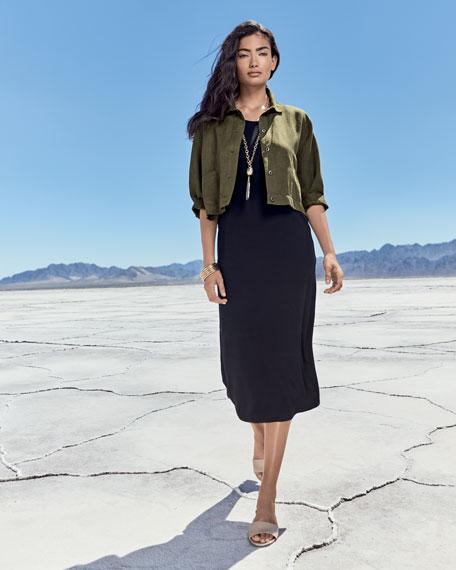 Jersey Scoop-Neck Midi Dress, Black, Plus Size