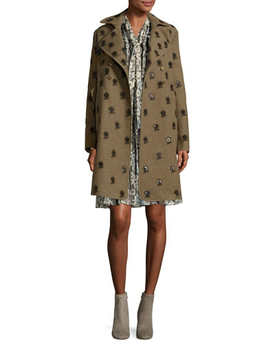 Floral-Embroidered Mid-Length Coat, Green/Brown and Matching Items