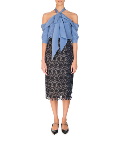 Elin Silk Cold-Shoulder Halter Top, Blue and Matching Items
