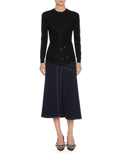 Bicolor Layered Virgin Wool Cardigan