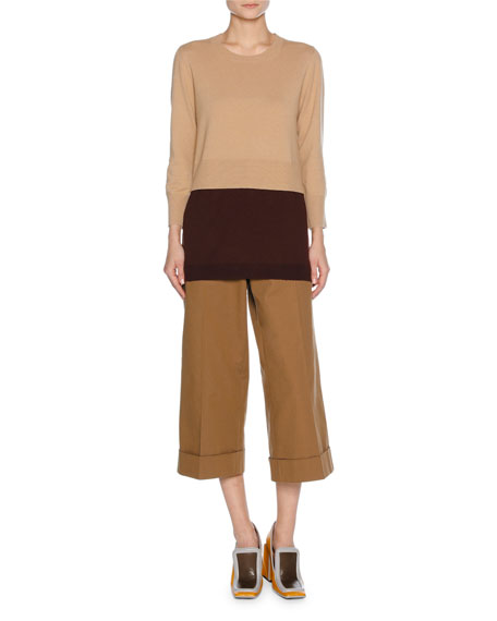 Layered Virgin Wool-Cashmere Sweater, Neutral