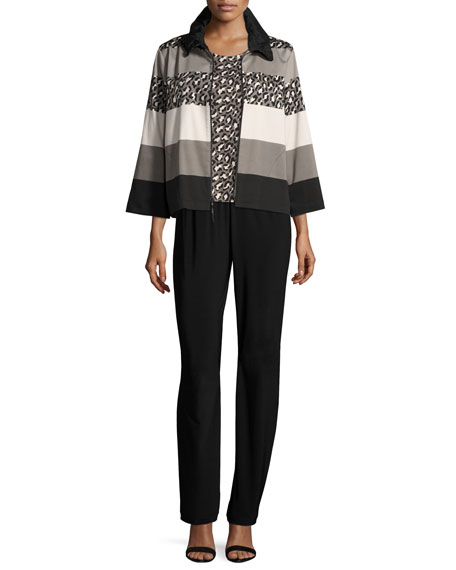Stretch-Knit Straight-Leg Pants, Plus Size