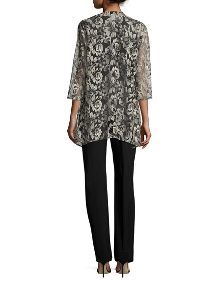 Embroidered Mesh Draped Jacket
