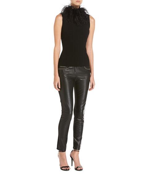 Studded Leather Combo Slim Pants