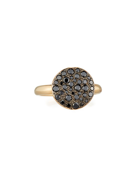 Sabbia 18k Rose Gold & Black Diamond Ring, Size 52