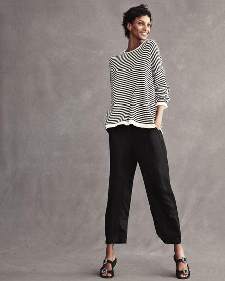 Linen-Blend Lantern Ankle Pants, Petite