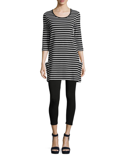 Striped Cotton Interlock Tunic, Black/White, Plus Size and Matching Items