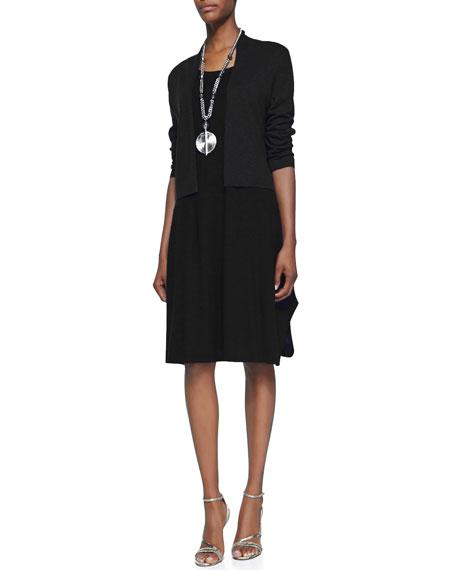 3/4-Sleeve Slub Cropped Cardigan, Black, Plus Size