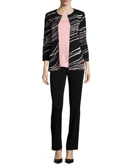 Ribbon 3/4-Sleeve Jacket, Plus Size