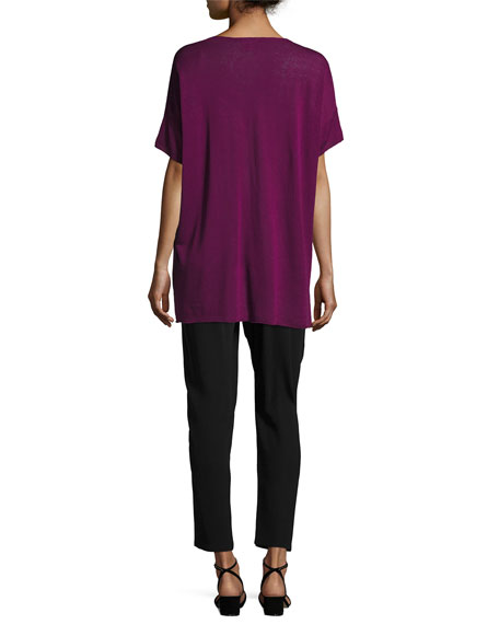 Fine Silk/Linen Round-Neck Tunic, Petite