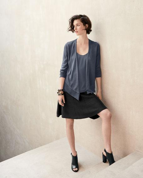 Long-Sleeve Knit Cardigan W/ Chiffon Trim, Petite
