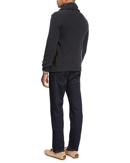 Collection Merino Wool-Silk Quarter-Zip Sweater, Charcoal