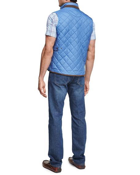 Peak Plaid Short-Sleeve Sport Shirt, Light Blue