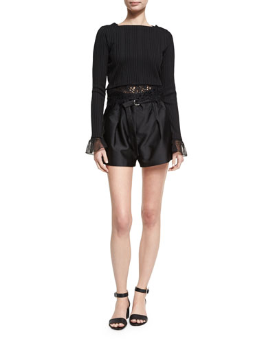 Long-Sleeve Rib-Knit Cropped Top W/ Lace, Black and Matching Items